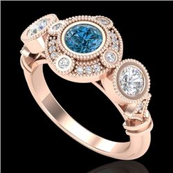 1.51 CTW Intense Blue Diamond Solitaire Art Deco 3 Stone Ring 18K Rose Gold - REF-218X2R - 37713