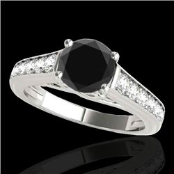1.50 CTW Certified VS Black Diamond Solitaire Ring 10K White Gold - REF-72K2W - 34901