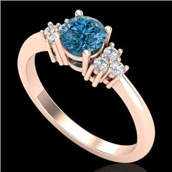 0.75 CTW Fancy Intense Blue Diamond Engagement Classic Ring 18K Rose Gold - REF-101A8V - 37587