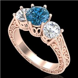 2.01 CTW Fancy Intense Blue Diamond Art Deco 3 Stone Ring 18K Rose Gold - REF-343H6M - 37580