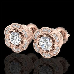 1.51 CTW VS/SI Diamond Solitaire Art Deco Stud Earrings 18K Rose Gold - REF-263N6A - 37107