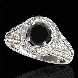 2.17 CTW Certified VS Black Diamond Solitaire Halo Ring 10K White Gold - REF-90H2M - 33979