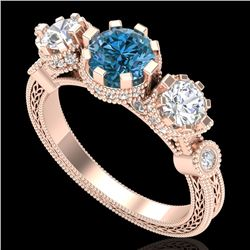 1.75 CTW Intense Blue Diamond Solitaire Art Deco 3 Stone Ring 18K Rose Gold - REF-227V3Y - 37881