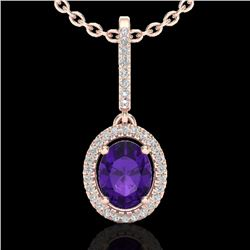 1.75 CTW Amethyst & Micro Pave VS/SI Diamond Necklace Halo 14K Rose Gold - REF-53N3A - 20646