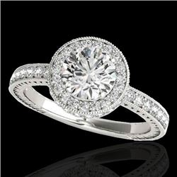 1.51 CTW H-SI/I Certified Diamond Solitaire Halo Ring 10K White Gold - REF-220K2W - 34301