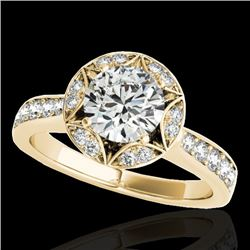1.50 CTW H-SI/I Certified Diamond Solitaire Halo Ring 10K Yellow Gold - REF-180X2R - 34231