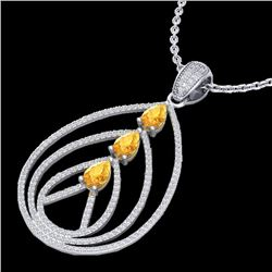 2 CTW Citrine & Micro Pave VS/SI Diamond Designer Necklace 18K White Gold - REF-133H3M - 22464