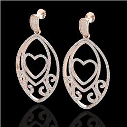 3.20 CTW Micro Pave VS/SI Diamond Designer Heart Earrings 14K Rose Gold - REF-230X4R - 22585