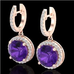4 CTW Amethyst & Micro Pave VS/SI Diamond Certified Designer Halo 14K Rose Gold - REF-72N7A - 23176