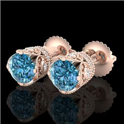 1.85 CTW Fancy Intense Blue Diamond Art Deco Stud Earrings 18K Rose Gold - REF-172M7F - 37412