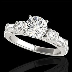 2.5 CTW H-SI/I Certified Diamond Pave Solitaire Ring 10K White Gold - REF-411W5H - 35480