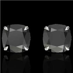 6 CTW Cushion Cut Black VS/SI Diamond Designer Stud Earrings 18K White Gold - REF-141N8A - 21735