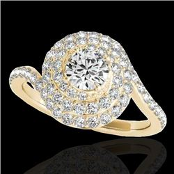 2.11 CTW H-SI/I Certified Diamond Solitaire Halo Ring 10K Yellow Gold - REF-290W9H - 34515