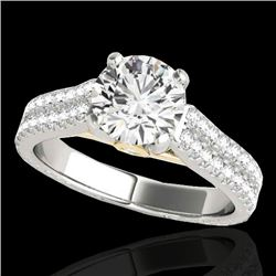1.61 CTW H-SI/I Certified Diamond Pave Ring 10K White & Yellow Gold - REF-180F2N - 35459