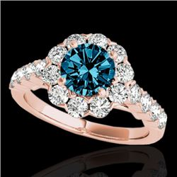 3 CTW SI Certified Fancy Blue Diamond Solitaire Halo Ring 10K Rose Gold - REF-296N9A - 33559