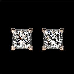 1 CTW Certified VS/SI Quality Princess Diamond Stud Earrings 10K Rose Gold - REF-147W2H - 33064