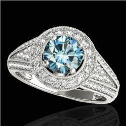 1.70 CTW SI Certified Fancy Blue Diamond Solitaire Halo Ring 10K White Gold - REF-200K2W - 33972
