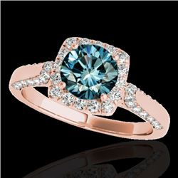 1.50 CTW SI Certified Fancy Blue Diamond Solitaire Halo Ring 10K Rose Gold - REF-176N4A - 33370