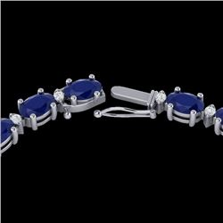 35 CTW Sapphire & VS/SI Diamond Certified Eternity Tennis Necklace 10K White Gold - REF-231H8M - 216