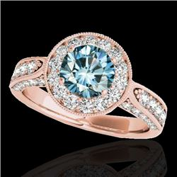 2 CTW SI Certified Fancy Blue Diamond Solitaire Halo Ring 10K Rose Gold - REF-209Y3X - 34501