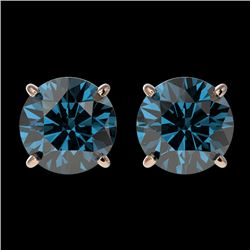 2 CTW Certified Intense Blue SI Diamond Solitaire Stud Earrings 10K Rose Gold - REF-205A9V - 36653