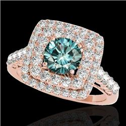 2.3 CTW SI Certified Fancy Blue Diamond Solitaire Halo Ring 10K Rose Gold - REF-254M5F - 34600