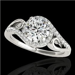 1.25 CTW H-SI/I Certified Diamond Solitaire Halo Ring 10K White Gold - REF-155W5H - 34168