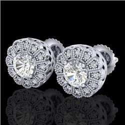 1.32 CTW VS/SI Diamond Solitaire Art Deco Stud Earrings 18K White Gold - REF-245A5V - 37052