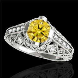 1.25 CTW Certified SI Intense Yellow Diamond Solitaire Antique Ring 10K White Gold - REF-167H3M - 34