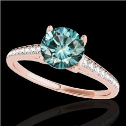 2 CTW SI Certified Fancy Blue Diamond Solitaire Ring 10K Rose Gold - REF-281H8M - 34859