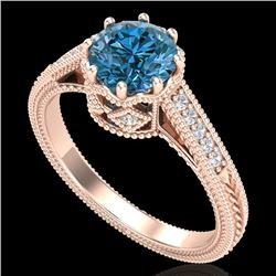 1.25 CTW Fancy Intense Blue Diamond Solitaire Art Deco Ring 18K Rose Gold - REF-195M5F - 37524