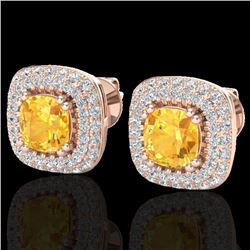 2.16 CTW Citrine & Micro VS/SI Diamond Earrings Double Halo 14K Rose Gold - REF-87V6Y - 20338