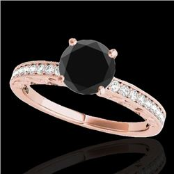 1.18 CTW Certified VS Black Diamond Solitaire Antique Ring 10K Rose Gold - REF-49F8N - 34607