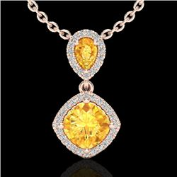 2.63 CTW Citrine & Micro VS/SI Diamond Necklace Designer Halo 10K Rose Gold - REF-47X3R - 20541
