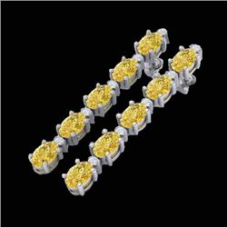 15.47 CTW Citrine & VS/SI Certified Diamond Tennis Earrings 10K White Gold - REF-75R6K - 29475