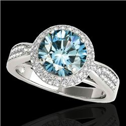 1.65 CTW SI Certified Fancy Blue Diamond Solitaire Halo Ring 10K White Gold - REF-180H2M - 34410