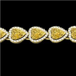 23 CTW Citrine & Micro Pave Bracelet Heart Halo 14K Yellow Gold - REF-378W5H - 22614