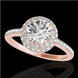 1.60 CTW H-SI/I Certified Diamond Solitaire Halo Ring 10K Rose Gold - REF-227H3M - 33671