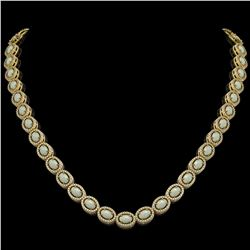 21.21 CTW Opal & Diamond Necklace Yellow Gold 10K Yellow Gold - REF-555V3Y - 40810