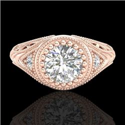 1.07 CTW VS/SI Diamond Solitaire Art Deco Ring 18K Rose Gold - REF-321A2V - 36885