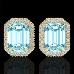 12 CTW Sky Blue Topaz And Micro Pave VS/SI Diamond Halo Earrings 18K Yellow Gold - REF-78A2V - 21220