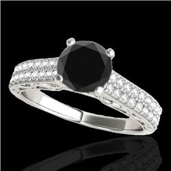 1.91 CTW Certified VS Black Diamond Solitaire Antique Ring 10K White Gold - REF-70W9H - 34705