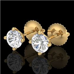 1.01 CTW VS/SI Diamond Solitaire Art Deco Stud Earrings 18K Yellow Gold - REF-180W2H - 37300