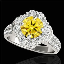 2.81 CTW Certified SI/I Fancy Intense Yellow Diamond Solitaire Halo Ring 10K White Gold - REF-361V8Y