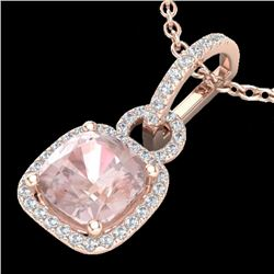 2.75 CTW Morganite & Micro VS/SI Diamond Certified Halo Necklace 14K Rose Gold - REF-65M6F - 22987