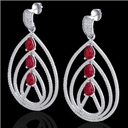 4 CTW Ruby & Micro Pave VS/SI Diamond Certified Designer Earrings 18K White Gold - REF-307H3M - 2245