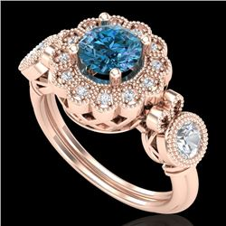 1.50 CTW Intense Blue Diamond Solitaire Art Deco 3 Stone Ring 18K Rose Gold - REF-218N2A - 37853