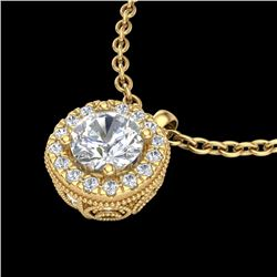 1.10 CTW VS/SI Diamond Solitaire Art Deco Stud Necklace 18K Yellow Gold - REF-218N2A - 37123
