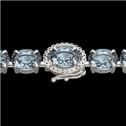 26 CTW Aquamarine & VS/SI Diamond Tennis Micro Halo Bracelet 14K White Gold - REF-285F3N - 23415