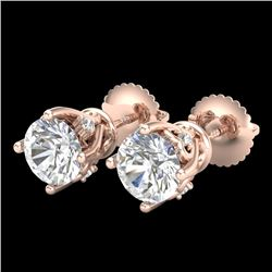 1.26 CTW VS/SI Diamond Solitaire Art Deco Stud Earrings 18K Rose Gold - REF-209X3R - 37020